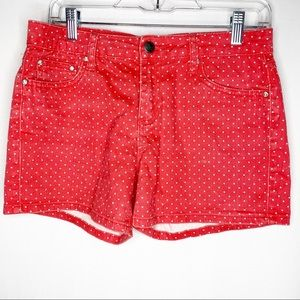 Earl Jean Summer Shorts Red White Polka Dot Size 6
